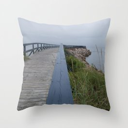 Boardwalk to sea Throw Pillow