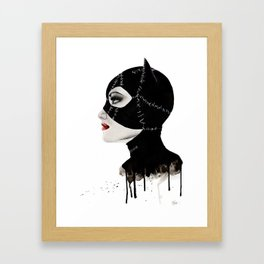 Stitched up Kitty Framed Art Print