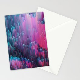 Bold Pink and Blue Glitches Stationery Cards