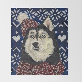 Husky in a Hat and Scarf Throw Blanket