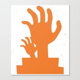 Orange silhouette of a zombie hand Canvas Print