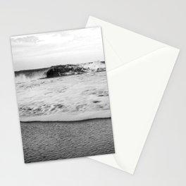 Black and White foamy waves Monochrome Sandy Beach Stationery Cards