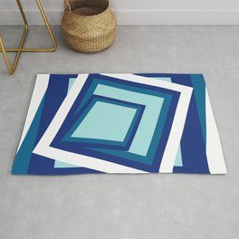 Geometric in classic blue Rug
