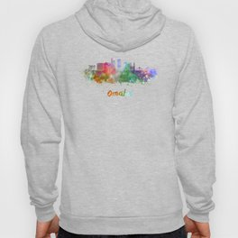 Omaha V2  skyline in watercolor  Hoody