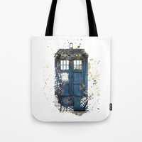 tardis Tote Bags featuring Tardis by Zhavorsa