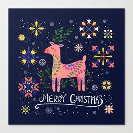 Happy Deer Card Canvas Print