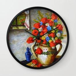 Hungarian Poppies Wall Clock