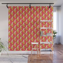 Peeled Bananas on Pink Wall Mural