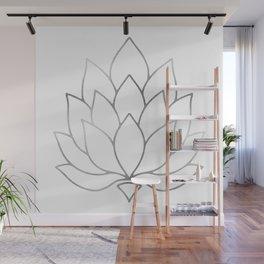 Silver Foil Lotus Flower Wall Mural