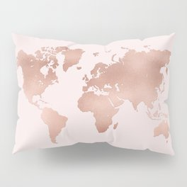 Rose Gold World Map Pillow Sham