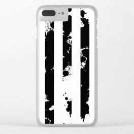 Splatter Bars - Black ink, black paint splats in a stripey stripy pattern Clear iPhone Case