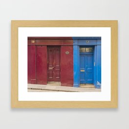 Red or blue ?  Greyfriars Edinburgh Scotland city Framed Art Print