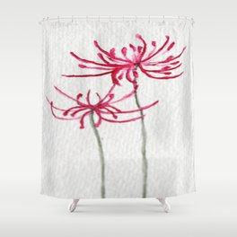 Delicate Red Flower Shower Curtain