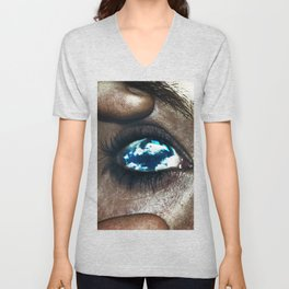 Ojos color cielo Unisex V-Neck