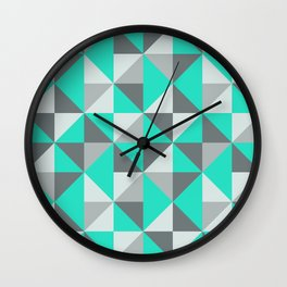 Aqua and Grey Retro Inspired Pattern Wall Clock