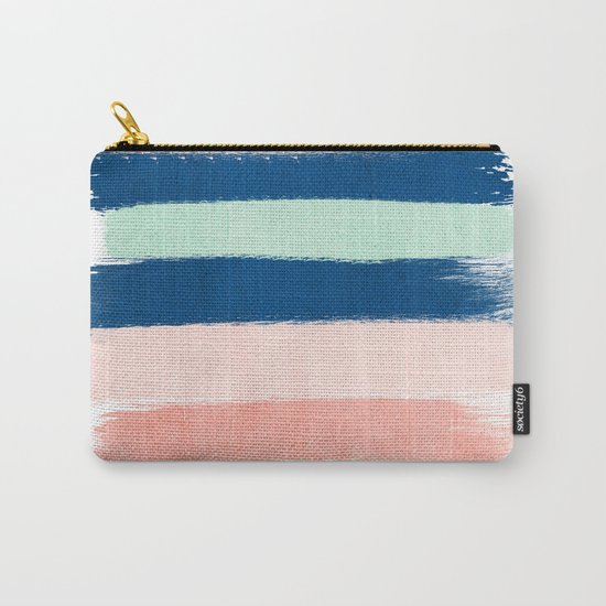 Stripes painterly pastel trendy color way modern home decor dorm nursery style Carry-All Pouch
