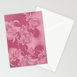 Pink Fractal Flowers Stationery Cards