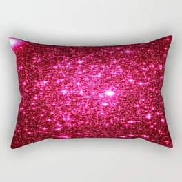 Hot Pink Glitter Galaxy Stars Rectangular Pillow