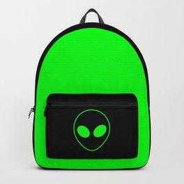 Bright Neon Green Alien Head on Black Backpack