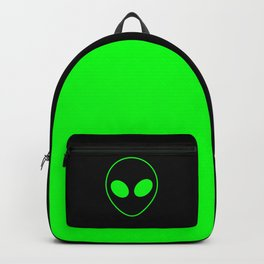 Bright Neon Green Alien Head on Black Backpack