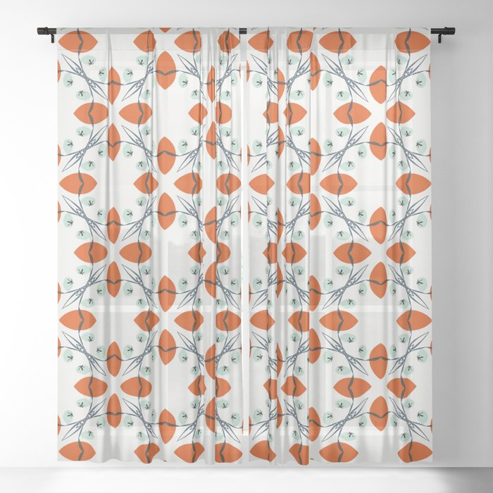 Audrey red floral pattern Sheer Curtain