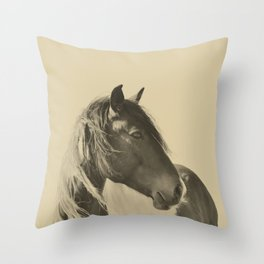 Stallion in Sepia Throw Pillow