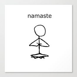 Namaste stick man Canvas Print