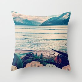 Tropical Island Moutain Collage Throw Pillow