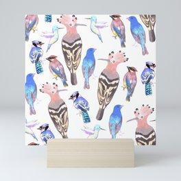 Birds watercolor in tetrad color scheme Mini Art Print