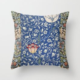 William Morris Victorian blue flowers Throw Pillow