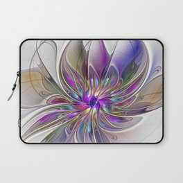 Energetic, Abstract And Colorful Fractal Art Flower Laptop Sleeve