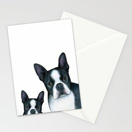 Dog 128 Boston Terrier Dogs black and white Stationery Cards
