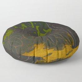 Black Cat yellow eyes Inagaki Tomoo Vintage Japanese Woodblock print, mid century, Moder Cubism Floor Pillow