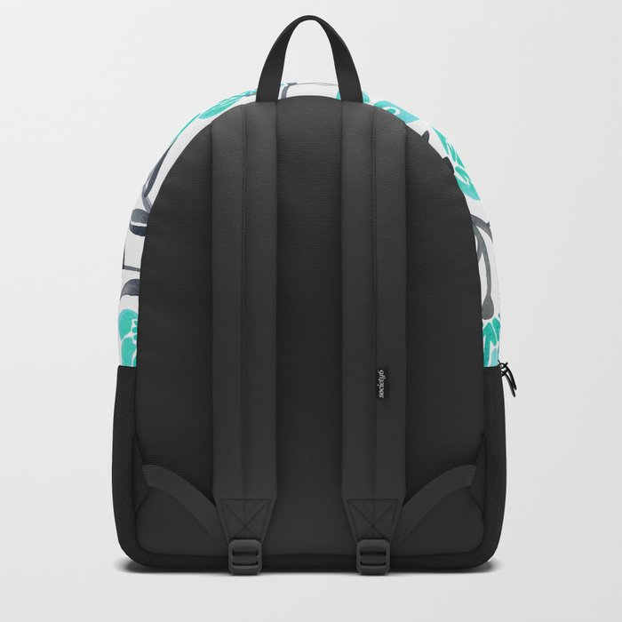 Cherry Blossoms – Turquoise & Black Palette Backpack