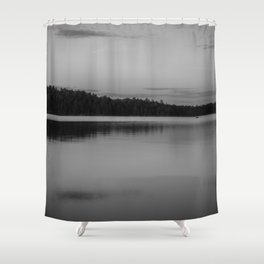 Black and White Sunset on Little Loon Shower Curtain