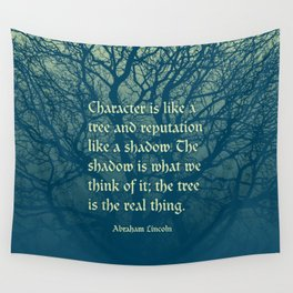 Tree of Character VINTAGE BLUE / Deep thoughts by Abe Lincoln Wall Tapestry