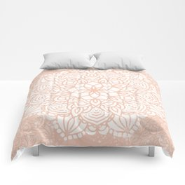 Seashell Mandala Coral Pink and White by Nature Magick Comforters