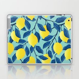 Vintage yellow lemon on the branches with leaves and blue sky hand drawn illustration pattern Laptop & iPad Skin