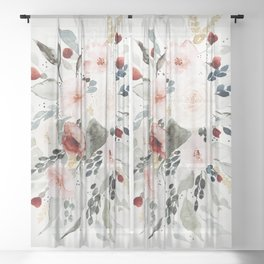 Loose Watercolor Bouquet Sheer Curtain
