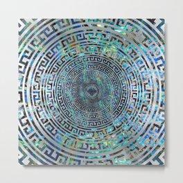 Circular Greek Meander Pattern - Greek Key Ornament Metal Print