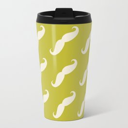 Curly Moustache (Handlebar Moustache) - White Green Travel Mug