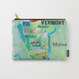 USA Vermont State Travel Poster Map with Touristic Highlights Carry-All Pouch