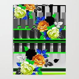 Chintz Rose Orange & Green Poster