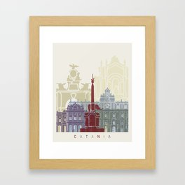 Catania skyline poster Framed Art Print