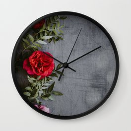 The Red Roses (Color) Wall Clock