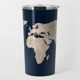 Inverted Rustic World Map Travel Mug