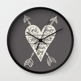 Kind Gentle Brave 2 Wall Clock