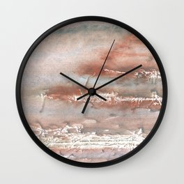 Silvery brown colorful watercolor pattern Wall Clock