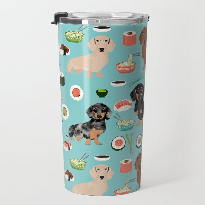 dachshund sushi multi coat doxie dog breed cute pattern gifts Travel Mug