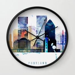 Portland colorful skyline, Oregon cityscape Wall Clock